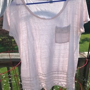 White with pink tone trimmed shirt
